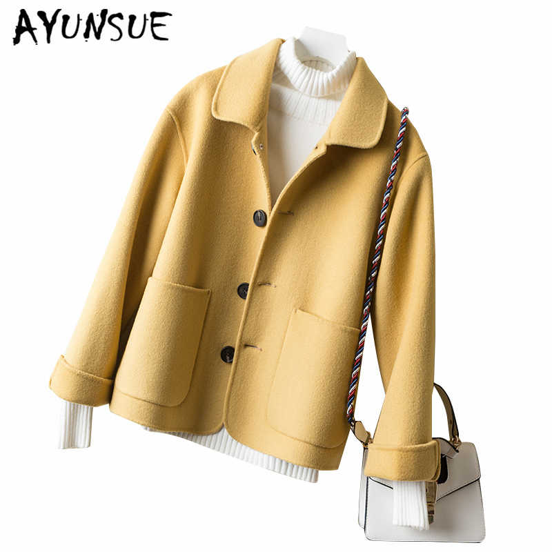 AYUNSUE 2019 Elegant Casual Double-Sided Cashmere Wool Coats Autumn Winter Coat Women Fit Soft Short Female Jacket Clothes LW455