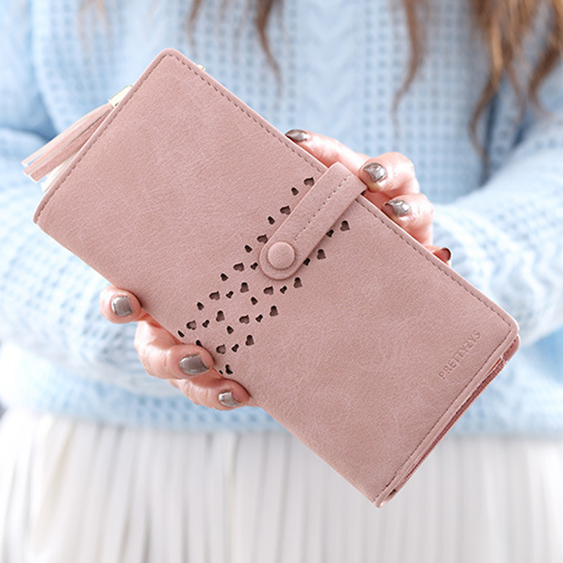 Women Wallet Leather Card Coin Holder Money Clip Long Phone Clutch Tassel Vintage Luxury Brand Cash Pocket 2017 Hot Female Purse free shipping new fashion brand women s long wallet purse clutches lady money clip coin phone bag 100