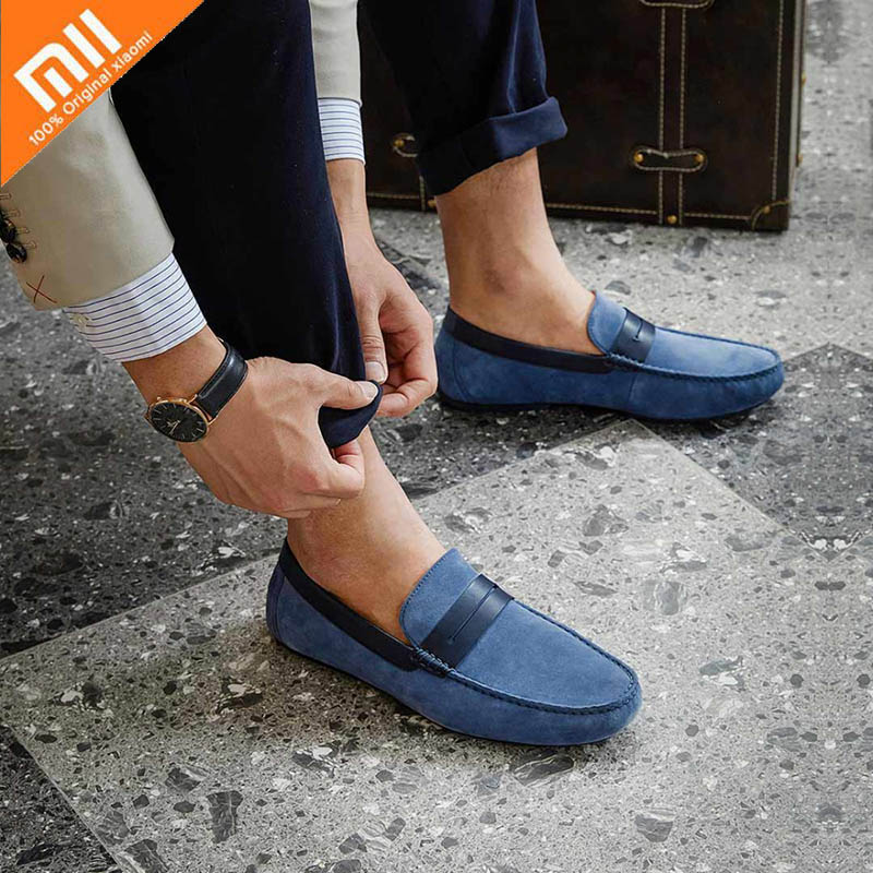 Original Xiaomi Men s Suede leather shoes Pig skin breathable Soft Qimian Elite Casual Comfortable suede
