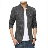 2016 Plus size korean style casual blazer for men slim fit male suit jacket high quality men's Stand collar Blazers