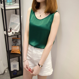 Image 5 - 2018 100% Pure Silk Summer tank top Fashion Women Blouse Sleeveless Soft Plain Vest Basic T shirts Great Quality Casual Camisole