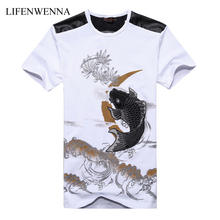 Plus Size 6XL Men's T shirt New Fashion Chinese Style Goldfish Embroidery Men T Shirts Short-sleeve Slim Fit Casual T Shirts Men