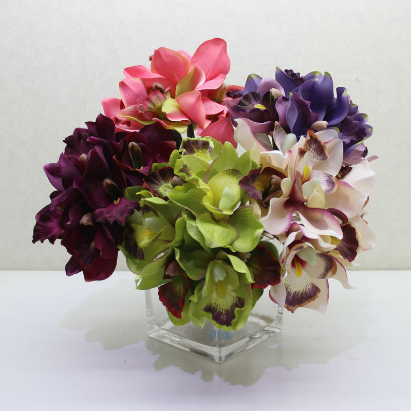 7 Colors Artificial silk white pink purple orchid wedding ...