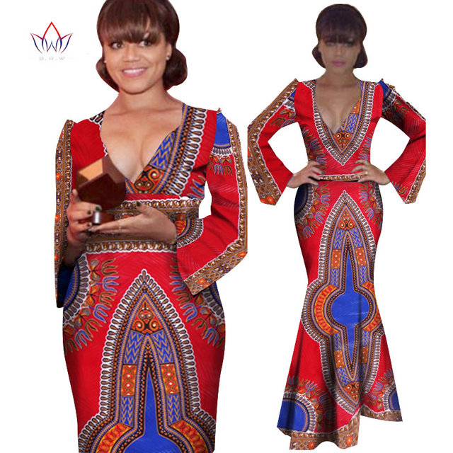 Brw African Traditional Dresses Bazin Riche Vintage Dress Plus Size
