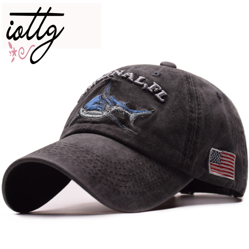 IOTTG 2018 High Quality Washed   Baseball     Cap   Dad Hats Shark USA Flag Embroidery Snapback Hats Hip Hop Men Women Unisex   Caps