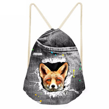 Funny 3D Animal Fake Denim Fox Printing Drawstrings Bags for Girls Boys Casual Softback Backpacks Galaxy Beach BagsSumka