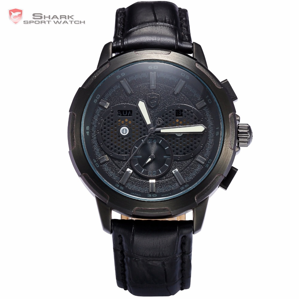 Horn Shark Sport Watch Auto Date Day Display Black Case Dial Leather Band Strap Quartz Mens Watches Top Brand Luxury Gift /SH357