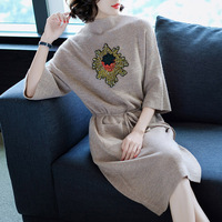 Women dress 2018 spring autumn New Fashion Hot seale Three Quarter sleeve O Neck Batwing sleeve casual knitted sweater dress