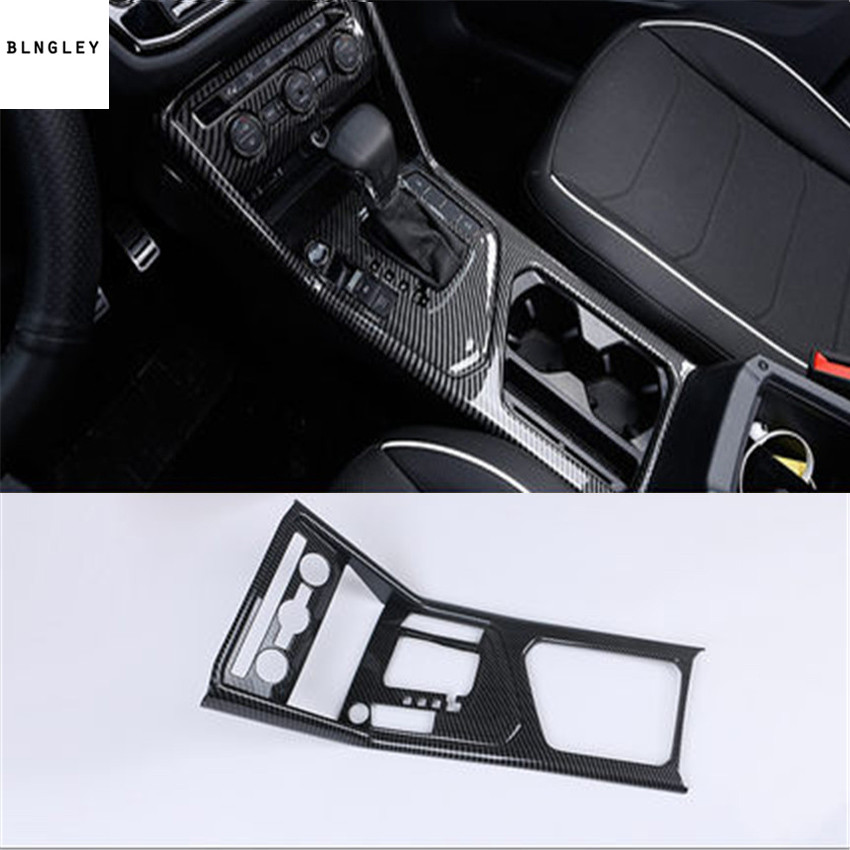 1pc ABS carbon fiber grain Central control gear panel decoration for 2017-2018 Volkswagen VW Tiguan MK2 Tiguan L наклейки e top zyva 319 nn vw topgear volkswagen tiguan
