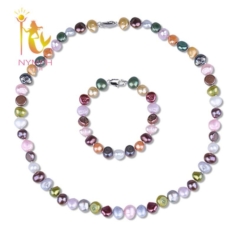 [NYMPH] Süßwasser Perle Schmuck-Set Perle Schmuck Natürliche Perlen Stein Halsband Halskette Armband Bunte Weihnachtsgeschenke [T206]
