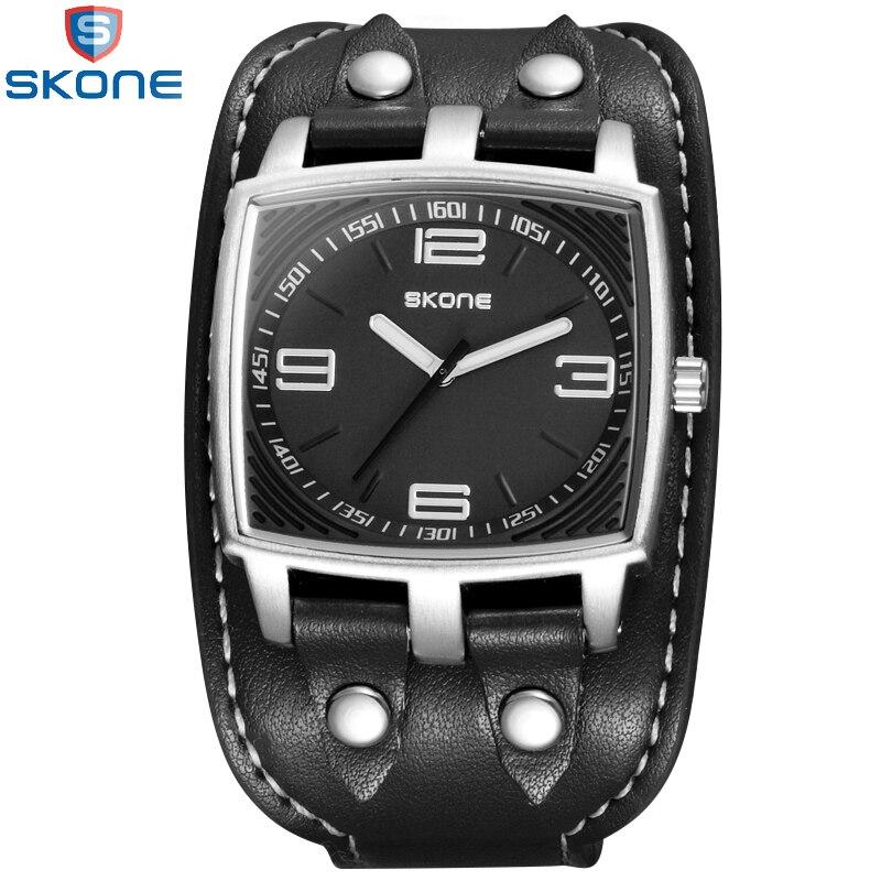 2017 SKONE Brand Fashion Men's Quartz Sport Wristwatches Casual Rivet Decoration Wide Leather Strap Watches