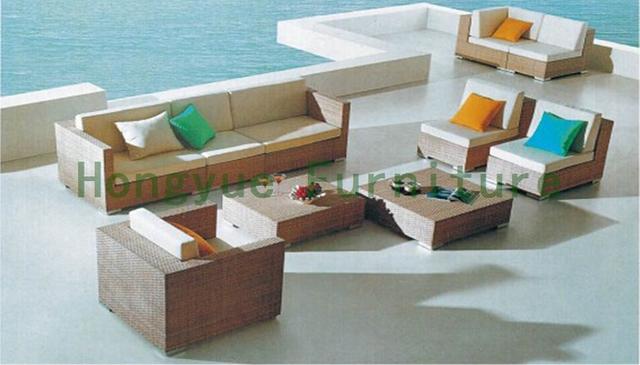 Outdoor sofá de mimbre conjunto, patio rattan sofa set con cojines
