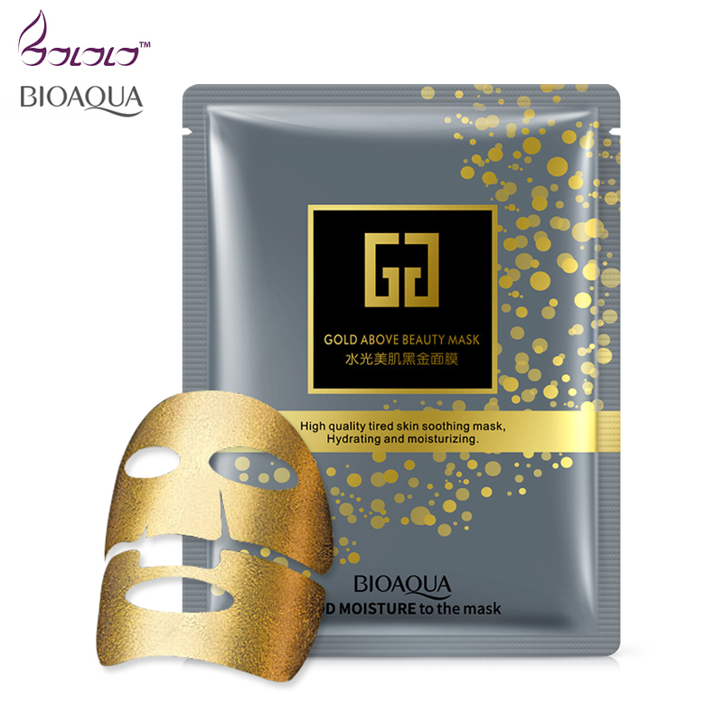 Bioaqua Brand Gold Facial Mask BLACK Essence Hyaluronic Acid Gel Anti Aging Wrinkle Hydrating Moisturizing Skin Care For Face hyaluronic acid face moisturizing mask anti wrinkle taiwan thin silk sheet mask plant extract natural no additives chrng