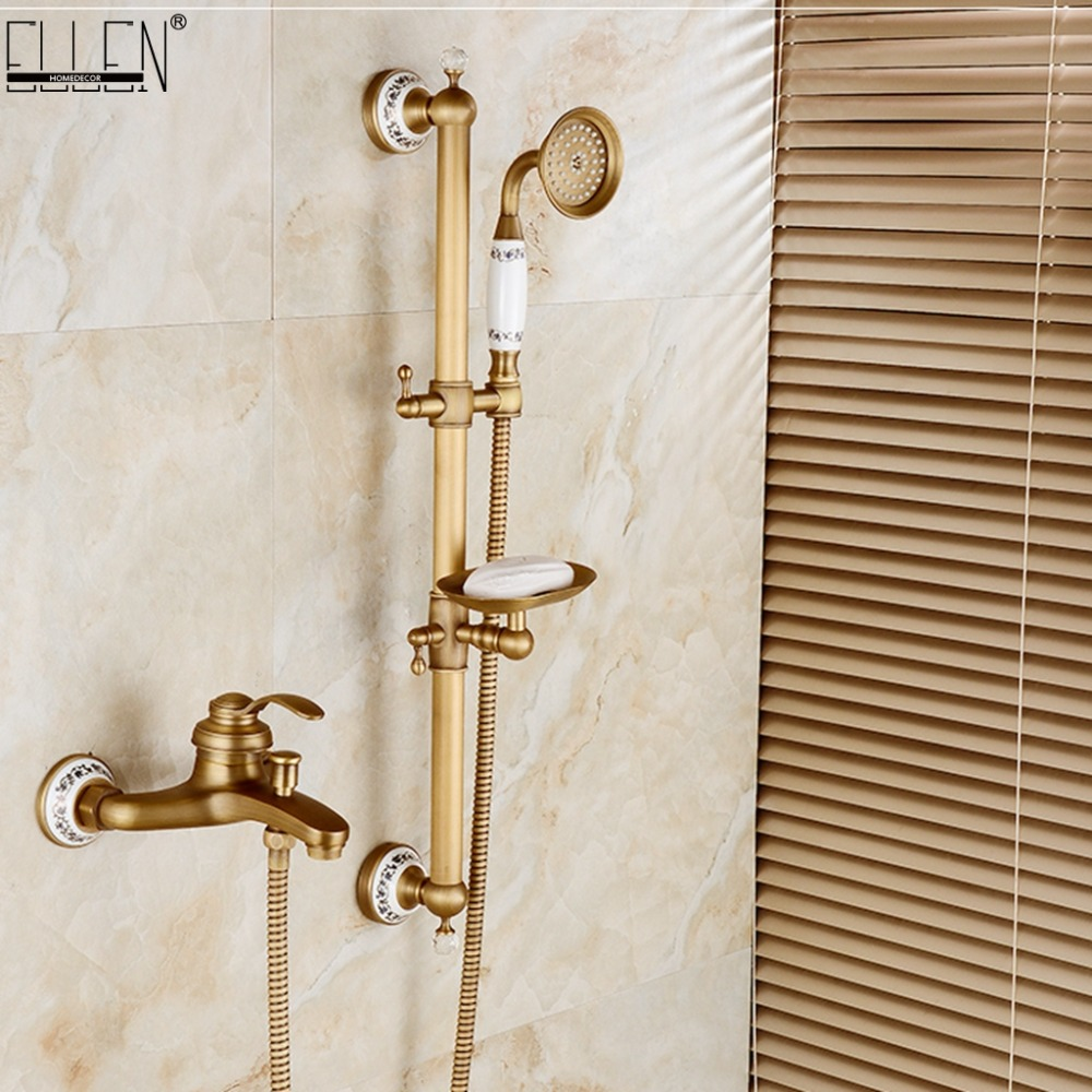 Classic Antique Bronze Bath Shower Faucet With Sliding Bar with Soap Holder Bathroom Rainfall Shower Faucet Set EL8325