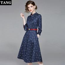 51661f6a95 Kobiety sukienka 2019 niebieski linia kobiety sukienka w stylu Vintage  elegancki pełna rękaw panie sukienki stany zjednoczone Pa.