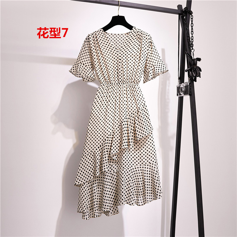 V neck Polka Dot Dress Women Flare Sleeve Floral Vintage Chiffon Dress Summer Irregular S XL Loose Ruffle Vestidos Mujer 2019 in Dresses from Women 39 s Clothing