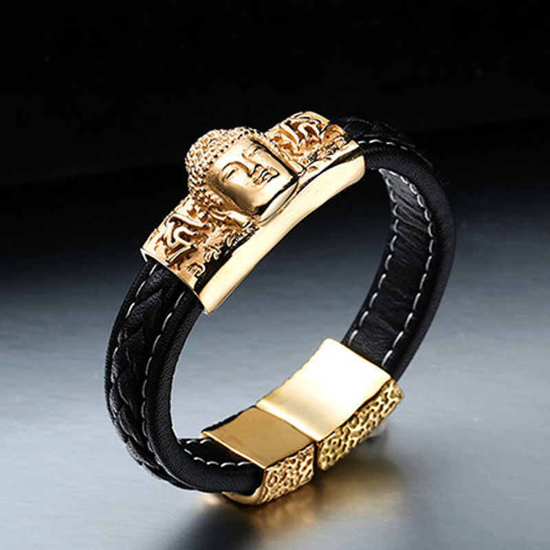 Bracelet Men SKA Bangles & Bracelets For Men Jewelry Sakyamuni Head Leather Weave Titanium Steel Personality Pulseras BC-L003