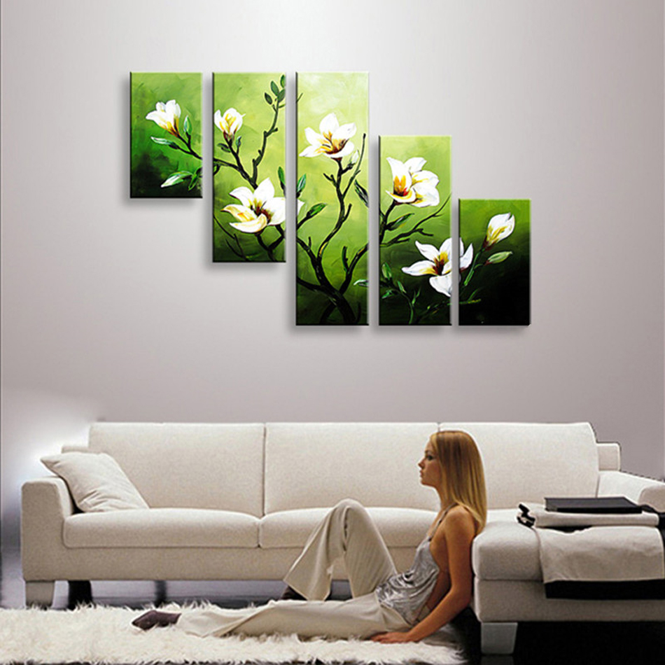 Hand Painted High Quality Abstract Oil Painting 5 Pcs Modern Camellia - Home Decor - Photo 2