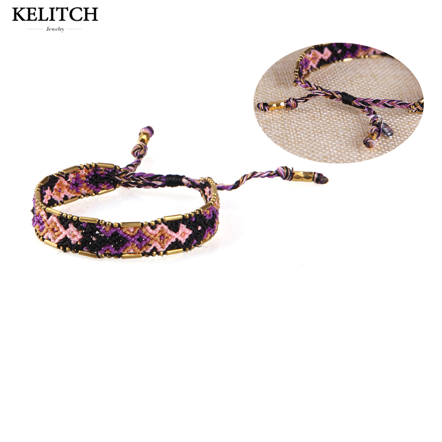 KELITCH bracelets Jewelry Adjustable Clasp Cotton Woven String Rope Vintage Handmade Bracelets For Friends women girls Gifts
