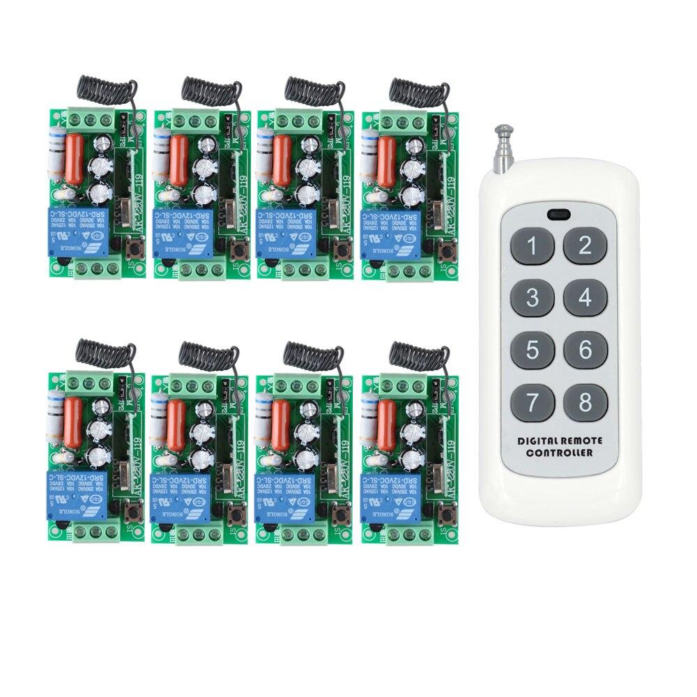 AC 220 v 1CH 10A Relais Sans Fil RF Télécommande Commutateur Commutateur D'éclairage Sans Fil; 8 pcs Récepteur + 1000 m Transmetteur