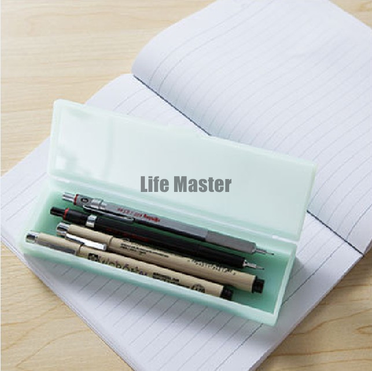 LifeMaster Selected Transparent PP Matte Pencil Case Small/Large Storage Box Pink/Green/White Simple Style Better Than MUJI e2wy tl 0440 fashionable double wall pp cup spoon cap pink white transparent light pink