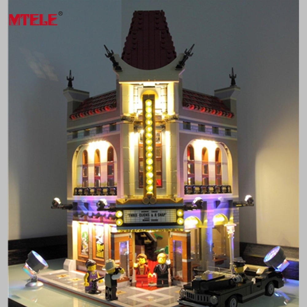MTELE Brand LED Light Up Kit til Creator City Street Palace Cinema Light Set Kompatibel med Lego 10232 og 15006
