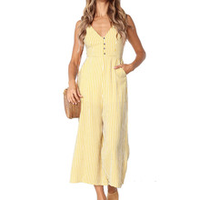 yashangyi Combinaison Femme Casual Stripe Women's Jumpsuits and Romper Sexy V-Neck Summer Button Pocket Overalls Wide Leg Pants