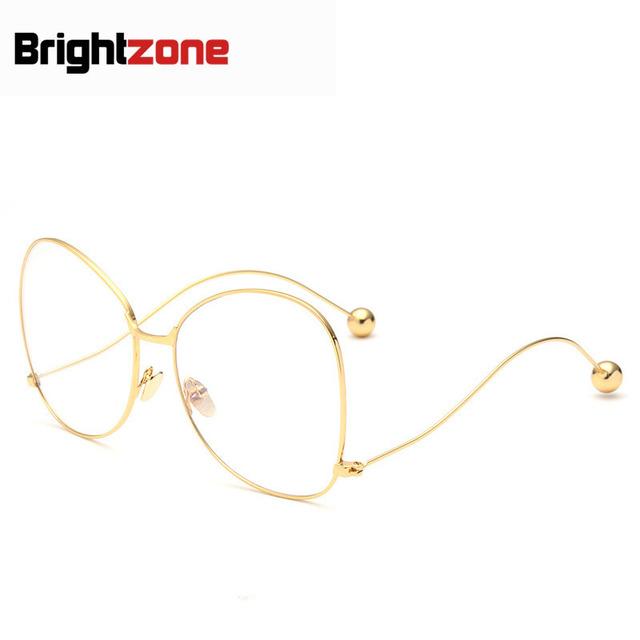 Tamanho grande Mulher Óculos Moda Armação de óculos Aro Completo Rede Bola Plain Oculos de grau Óculos De Armação Redonda de Aço Altura