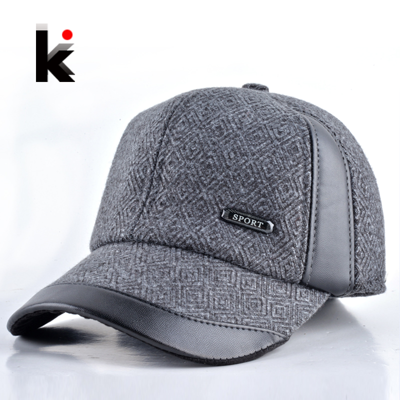 30a6fa91a2bf2 2016 Mens winter hat casual baseball cap Leather and maone stitching warm  cap with ear flaps Middle aged hats for men bonnet-in Baseball Caps from  Apparel ...