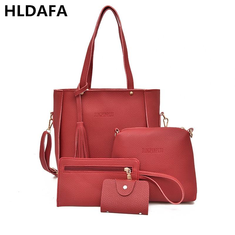 HLDAFA 2018 Women PU Famous Brand Shoulder Bags Totes Handbag Tassel Composite Bag Messenger Crossbody bag Set Bolsa Feminina