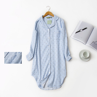 Autumn New Stripe Polka Dot Sexy Women Sleepshirts 100 Brushed Cotton Fresh Simple Nightgowns For Women