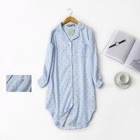 Autumn New Stripe Polka Dot Sexy Women Sleepshirts 100 Brushed Cotton Fresh Simple Nightgowns For Women