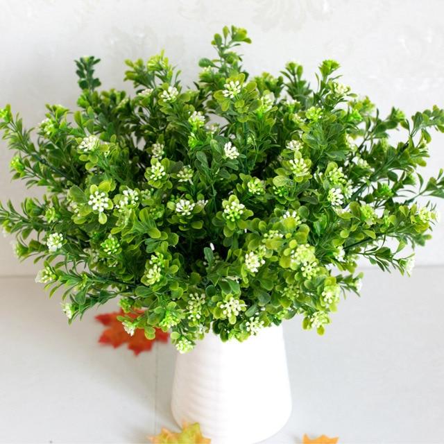 7 Branches Artificial Plastic Green Plant Simulation Bouquet Milan ...