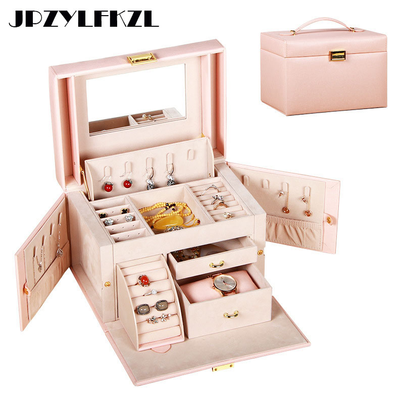 PU Leather Multi-layer Jewelry Box Drawer Girls Earrings Necklace With Mirror Lock Storage Organizer Case Accessories SuppliesPU Leather Multi-layer Jewelry Box Drawer Girls Earrings Necklace With Mirror Lock Storage Organizer Case Accessories Supplies