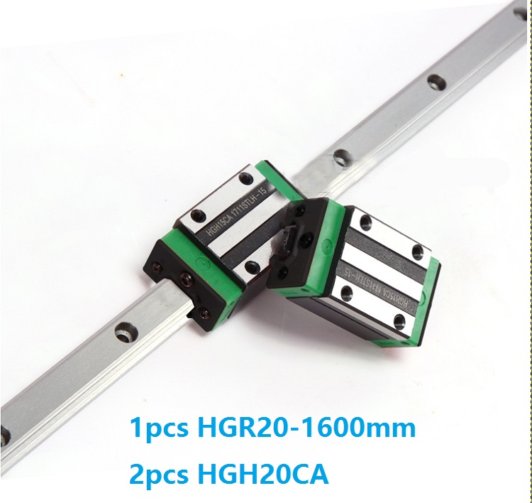1pcs linear guide rail HGR20 1600mm + 2pcs HGH20CA linear narrow blocks for CNC router parts Made in China akg6090 made in china high quality desktop mini cnc router 4060 for sale