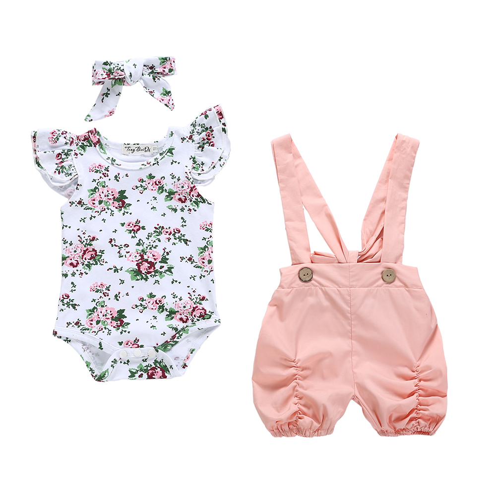 Newborn Infant Baby Girls Summer 3PCS Clothing Sleeveless Floral Romper Bib Shorts Suspender Overalls Casual Outfit Clothes Set