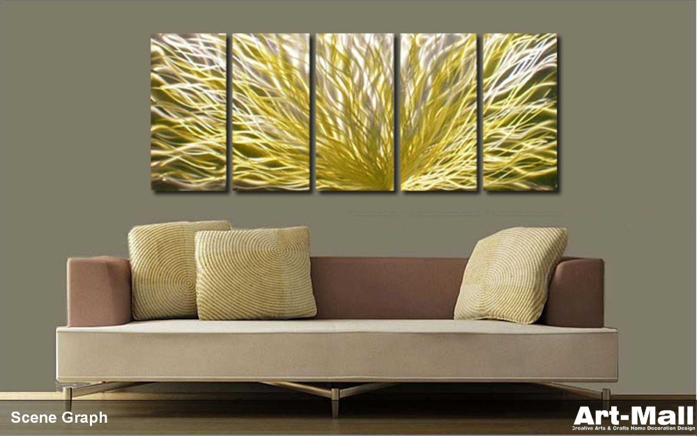 Yellow Line original metal art , blue tree ,wall sculpture . metal ...