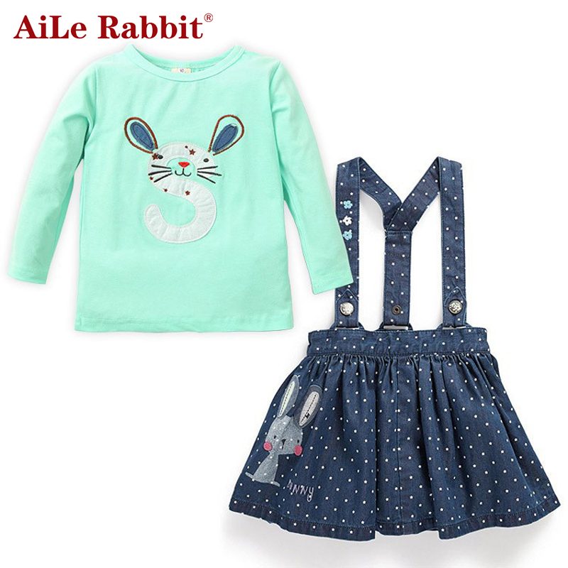 AiLe Rabbit 2017 Spring clothes set t shirt blouse + suspender skirt 2pcs fashion children overalls girl baby girl clothing sets 2017 summer new children baby girl clothing denim set outfits short sleeve t shirt overalls skirt 2pcs set clothes baby girls