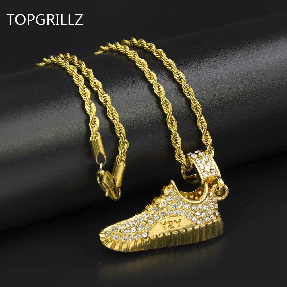 TOPGRILLZ tono de oro de collar de colgantes de hip-hop, corriendo al lado el Jordán con letras deportes colgante collares para las mujeres de los hombres