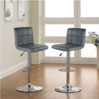 2PCS Bar Stools Swivel Gray Leather Height Adjustable Pub Bar Chair Modern Living Room Furniture Bar Accessories HWC