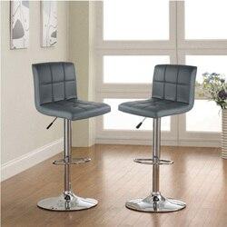 2PCS Barhocker Swivel Grau Leder Höhe Einstellbar Pub Bar Stuhl Moderne Wohnzimmer Möbel Bar Zubehör HWC