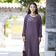 สไตล์จีนแขนยาวผ้าฝ้ายผ้าลินินผู้หญิงยาวแต่งตัวสบายๆแข็งMidiชุดแบรนด์แฟชั่นชุดเสื้อคลุมVestidos B146