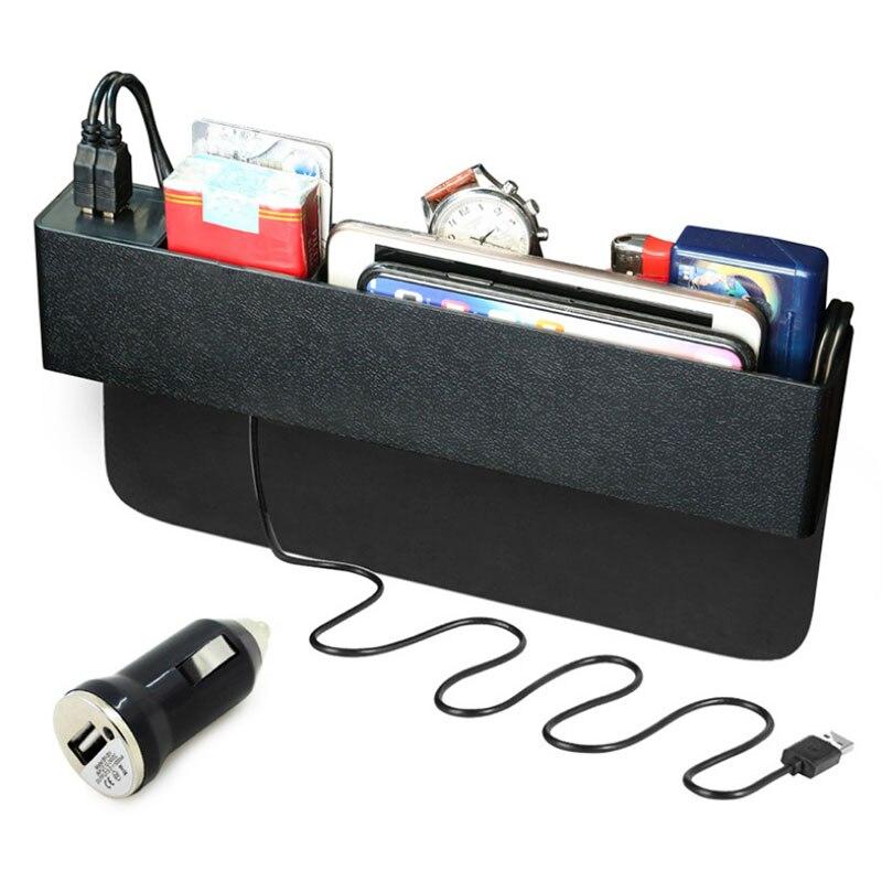 Universal Car Organizer Seat Gap Leak-Proof Storage Box Case Auto Seat Side Gap Organizer with 2 USB Port Charger цена