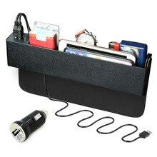 Универсальная автомобильная Организатор сиденья Gap герметичность хранения Box Дело сторона Авто сиденья Gap Органайзер с 2 USB Порты и разъёмы зарядное устройство