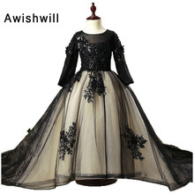 2018 New Pageant Gowns Flower Girl Dresses for Weddings Long Sleeve Lace and Tulle Ball Gown Holy Communion Dresses Customized