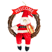 Christmas Pendant Decor Santa Claus Snowman Christmas Garlands Wreath Ornaments Home Party Door Hanging Xmas Doors