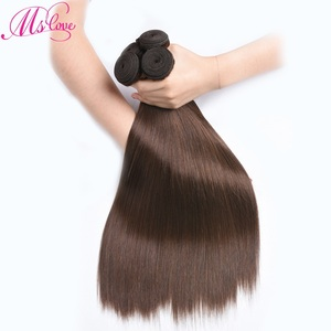 Image 2 - Straight Human Hair Bundles With 2x4 Closure Brazilian Brown Bundles With Closure Non Remy #2 #4 Mslove
