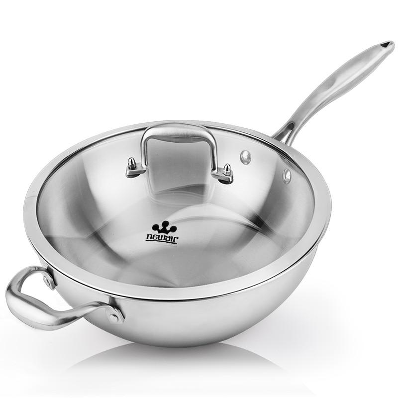 цена на 304 Stainless Steel Wok Not Sticky No Smoke No Coating Flat Pots Induction Cooker Universal Wok