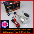 Motorcycle Headlight 2.5 Inch HID Bi-xenon Angel Eye Devil Eye Lens Projector Retrofit Headlamp For Suzuki Yamaha Kawasaki Honda