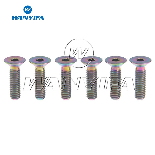 Wanyifa Titanium Ti M4x15mm Countersunk Hexagon Socket Head Rainbow Screw Bolts Pack of 6 Colorful